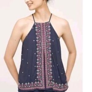 Anthropologie Floreat Embroidered Tank Top